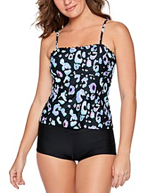 Juniors' Animal-Print Tankini Top & Swim Shorts, Created for Macy's