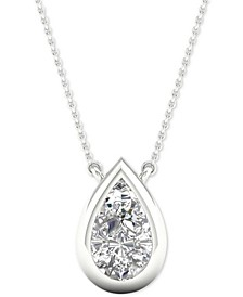 "Diamond Pear Solitaire Bezel 18"" Pendant Necklace (1/5 ct. t.w.) in 14k White Gold"