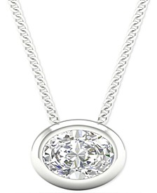 "Diamond Oval Bezel 18"" Pendant Necklace (1/5 ct. t.w.) in 14k White Gold"