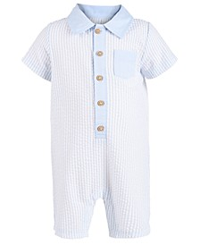 Baby Boys Striped Seersucker Cotton Sunsuit, Created For Macy's