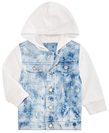 Baby Boys Hooded Layered-Look Denim Jacket, Created for Macy's