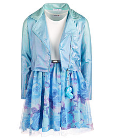 Beautees Big Girls 2-Pc. Ombré Moto Jacket & Floral Dress Set