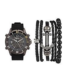 Men's Black/Grey Analog Quartz Watch And Stackable Gift Set