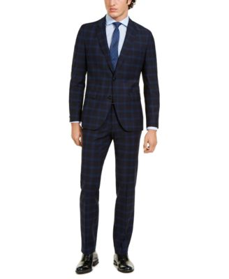 Hugo Boss Men's Classic-Fit Navy Plaid Suit Separate Jacket