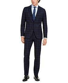 HUGO Men's Modern-Fit Navy Plaid Suit Separates