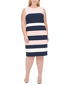 Plus Size Scuba Crepe Colorblock Sheath Dress