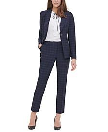 Windowpane-Print Single-Button Blazer, Ruffle-Front Woven Top & Windowpane-Print Pants