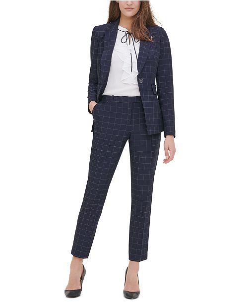 Tommy Hilfiger Windowpane-Print Single-Button Blazer, Ruffle-Front Woven Top & Windowpane-Print Pants