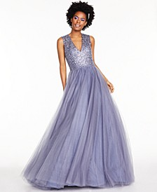 Juniors' Beaded Tulle Gown
