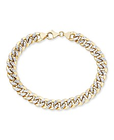 """Men's Diamond Cut Curb Link Chain 8.5"""" Bracelet in 10K Yellow and White Gold"""