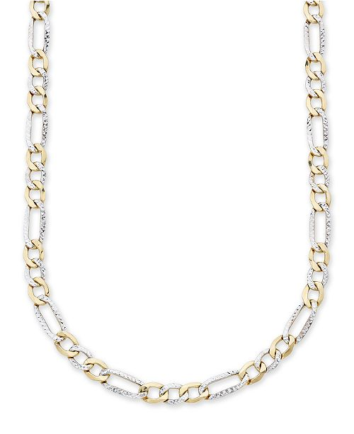 """Italian Gold Men's Diamond Cut 3+1 Figaro Link 22"""" Chain Necklace in 10K Yellow and White Gold"""