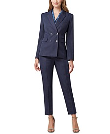 Pinstripe Double-Breasted Suit Blazer, Printed Sleeveless Bow Blouse & Striped Slim-Leg Pants