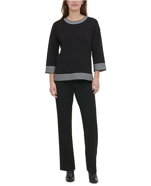 Calvin Klein Border-Trim Sweater