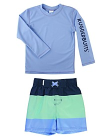 Baby Boys Long Sleeve Rash Guard Swim Trunk Set, 2 Piece