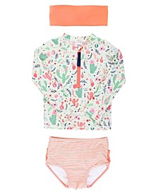 Baby Girls Long Sleeve Rash Guard Bikini with Zipper Swim Headband Set, 2 Piece