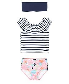 Toddler Girls Ruffled Tankini Swimsuit Swim Headband Set, 2 Piece