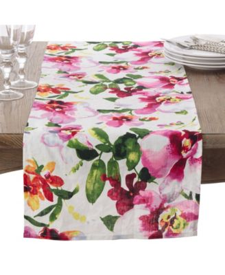 Saro Lifestyle Watercolor Floral Printed Design Linen Table Runner