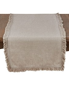 Stonewashed Linen Table Runner with Fringed Design