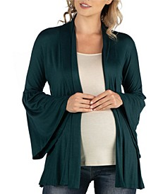 Long Flared Sleeve Open Front Maternity Cardigan