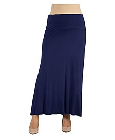 Women's Elastic Waist Solid Color Maternity Maxi Skirt