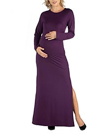 Form Fitting Long Sleeve Side Slit Maternity Maxi Dress