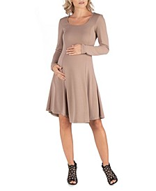 Simple Long Sleeve Knee Length Flared Maternity Dress