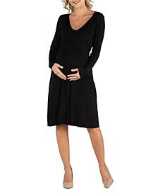 Women's V-Neck Long Sleeve Professional Maternity Dress
