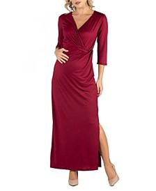 Ankle Length Side Slit Formal Maternity Maxi Dress