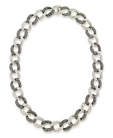 "Marcasite and Crystal Pave Oval Interlocking 18"" Necklace in Sterling Silver"