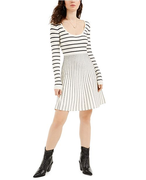 GUESS Nash Striped Fit & Flare Dress