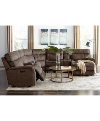Hutchenson 4-Pc. Fabric Chaise Sectional with 2 Power Recliners, Power Headrests and Console