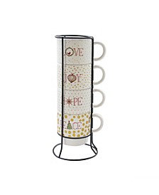 Love & Peace 5 Piece Mug Set with Metal Rack
