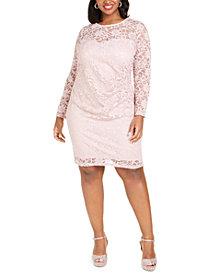BCX Trendy Plus Size Glitter Lace Illusion Dress