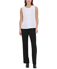 Pleated-Front Sleeveless Top