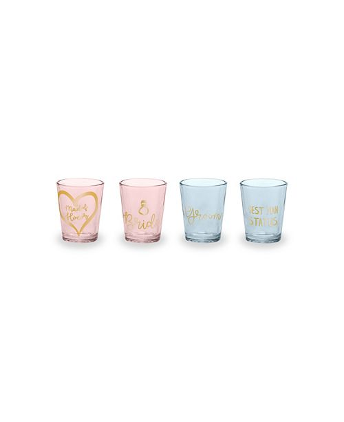 Rosanna Imports Love You More Shot Glass Wedding Party - Set of 4