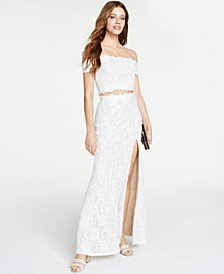Juniors' 2-Pc. Glitter-Lace Off-The-Shoulder Gown