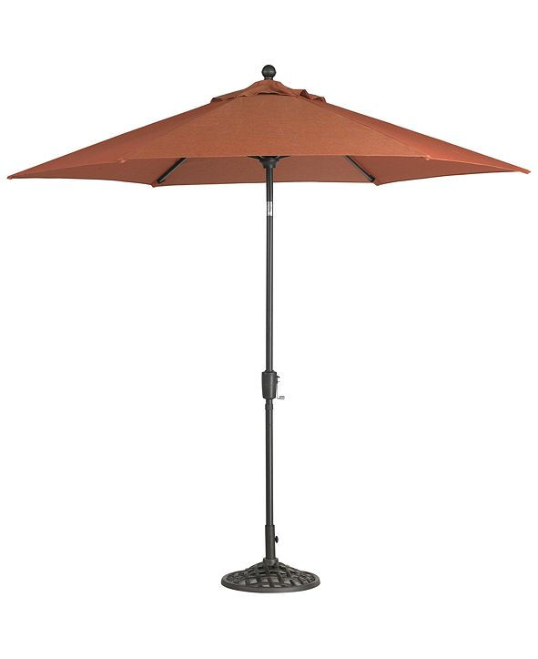 Furniture Chateau Outdoor 9' Push Button Tilt Umbrella with Base in Sunbrella® Fabric, Created for Macy's