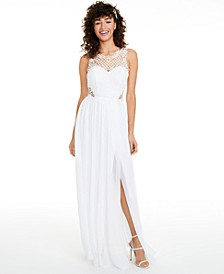 Juniors' Embellished Illusion Tulip Gown, Created for Macy's