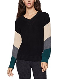 Colorblocked-Sleeve Sweater