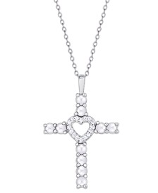 Simulated Birthstone Cross/Heart Pendant Necklace in Fine Silver Plate