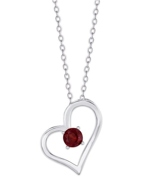 Macy's Simulated Birthstone Heart Pendant Necklace in Fine Silver Plate