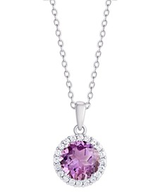 Simulated Birthstone Round Cubic Zirconia Halo Pendant Necklace in Fine Silver Plate
