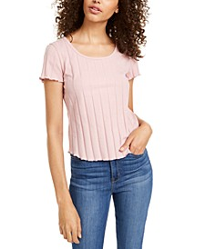 Juniors' Rib-Knit Lettuce-Edged T-Shirt