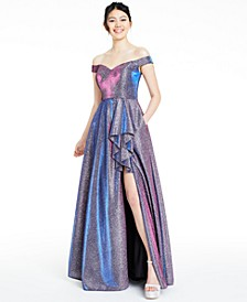 Juniors' Off-The-Shoulder Glitter Slit Gown