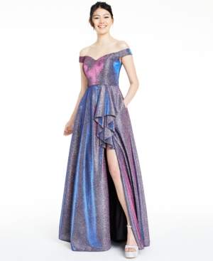 80s Dresses | Casual to Party Dresses Blondie Nites Juniors Off-The-Shoulder Glitter Slit Gown $99.99 AT vintagedancer.com