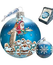 Santa On Goose Ball Glass Ornament