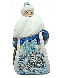Woodcarved Santa Winter Wolfs and Hand Painted Figurine
