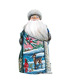 Woodcarved and Hand Painted Santa Village Fawn and Bird Figurine