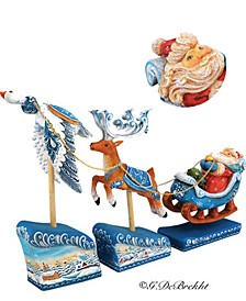 Santa On Sleigh with Reindeer and Christmas Scene Figurine