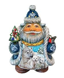 Scenic Santa with Polar Bear and Cubs Figurine